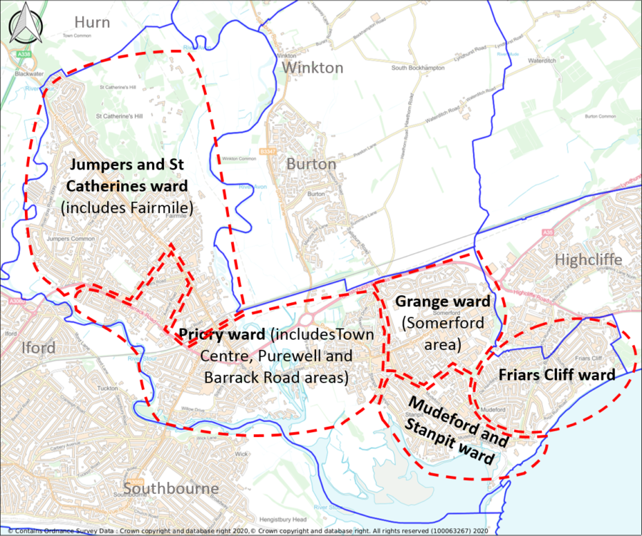 Area showing Christchurch Parish and wards